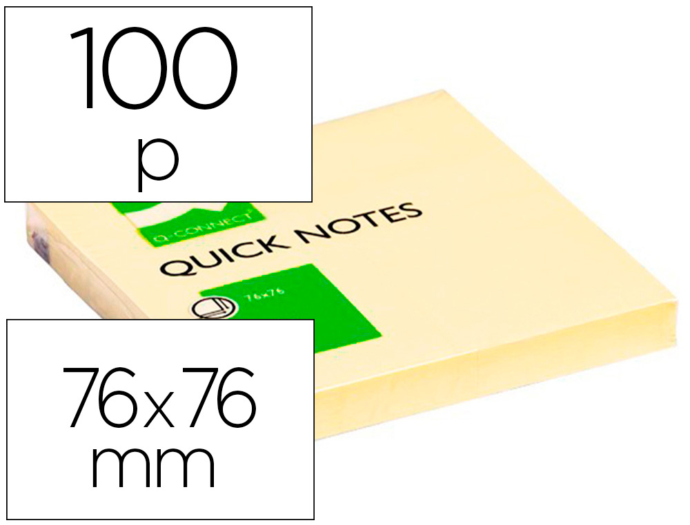 BLOC-NOTES Q-CONNECT QUICK NOTES 75X75MM 1 BLOC 100F REPOSITIONNABLES COLORIS JAUNE