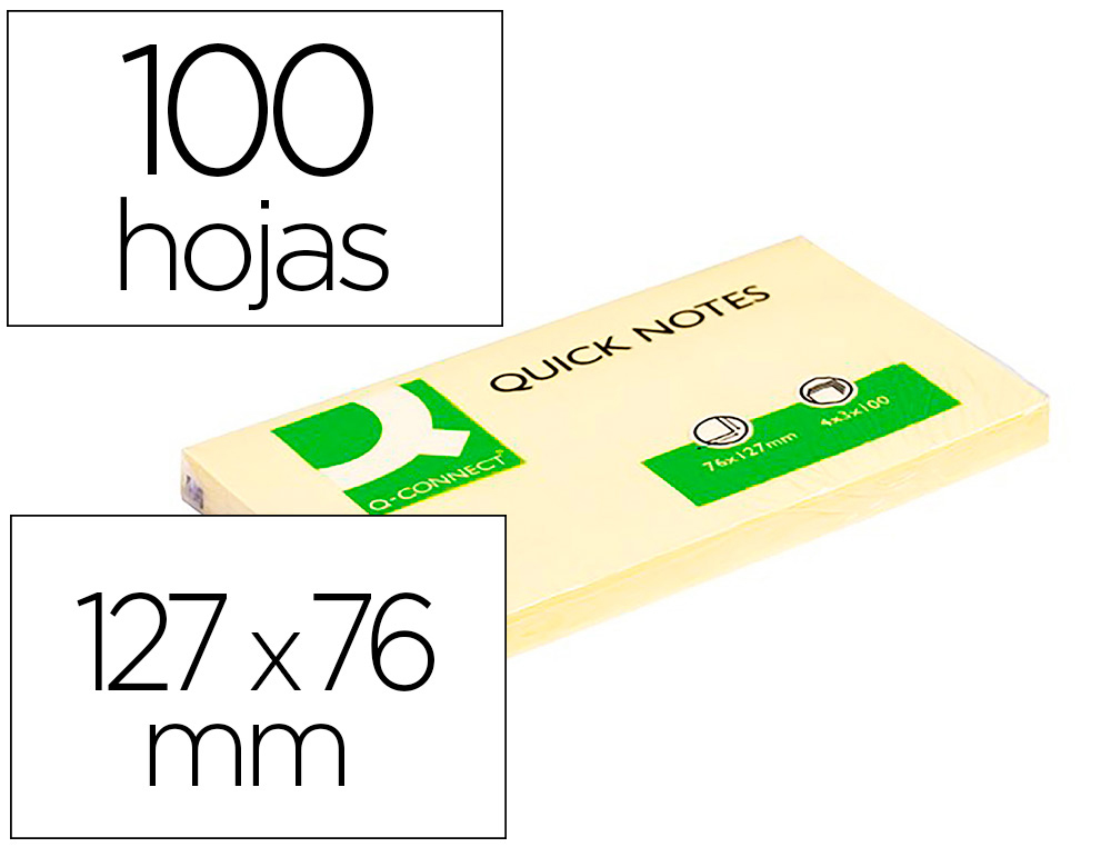 BLOC-NOTES Q-CONNECT QUICK NOTES 75X125MM 1 BLOC 100F REPOSITIONNABLES COLORIS JAUNE