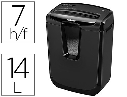 DESTRUCTEUR FELLOWES M-7C 230V EU OCCASIONNEL COUPE CROISÉE 4X46MM DÉTRUIT TROMBONES CB 14L 387X320X185MM 4.08KG