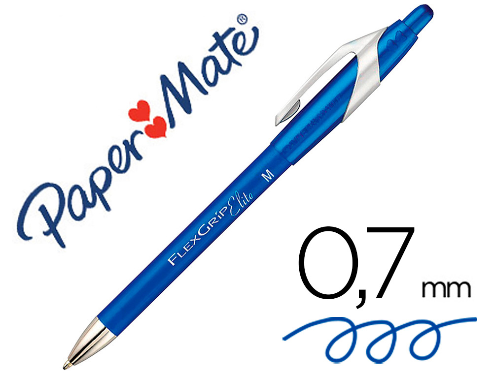 STYLO-BILLE PAPER MATE FLEXGRIP RETRACTABLE ENCRE    GEL POINTE 0.7MM COULEUR BLEU
