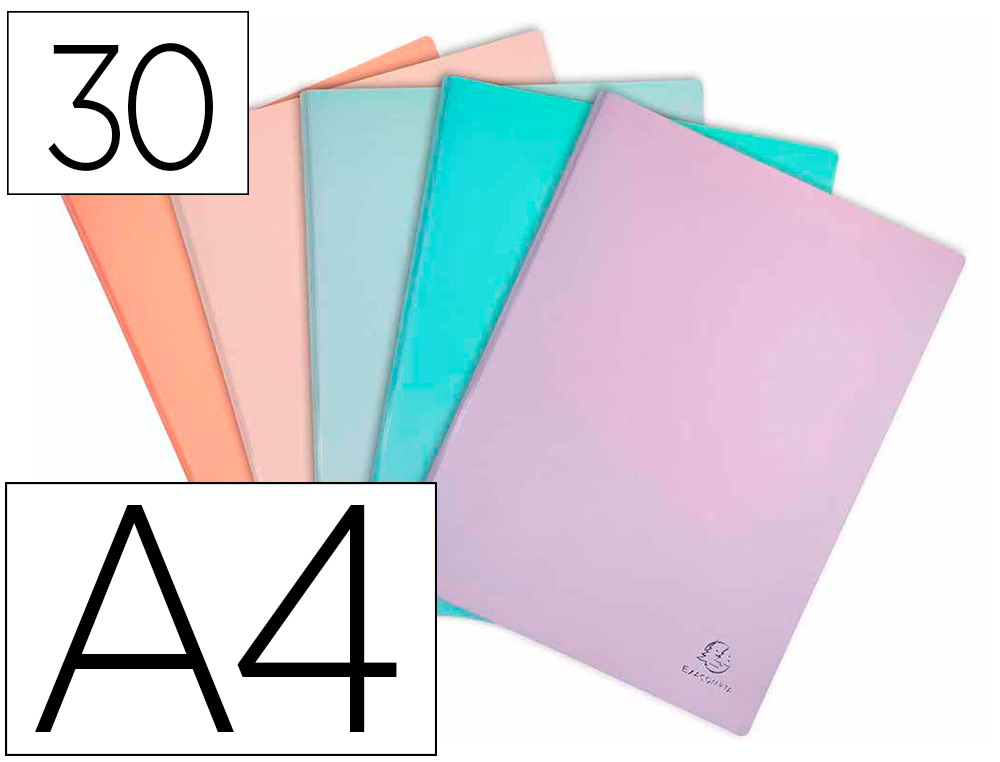 PROTEGE-DOCUMENTS EXACOMPTA AQUAREL POLYPROPYLENE         SEMI-RIGIDE 30 POCHETTES 60   VUES ASSORTIS BLEU CORAIL