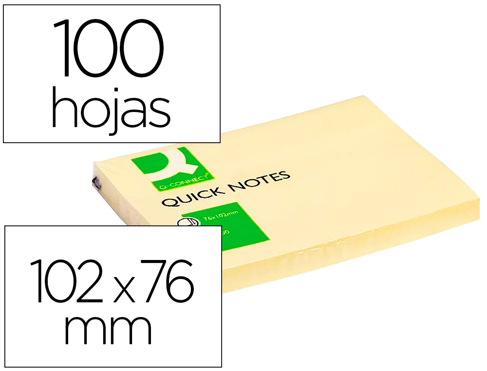 BLOC-NOTES Q-CONNECT QUICK NOTES 102X76MM 1 BLOC 100F REPOSITIONNABLES COLORIS JAUNE
