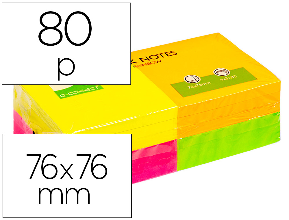 BLOC-NOTES Q-CONNECT QUICK NOTES COULEURS NÉON RAINBOW 75X75MM 80F REPOSITIONNABLES ROSE/ORANGE/VERT/JAUNE 12 BLOCS