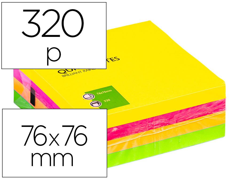 BLOC-NOTES Q-CONNECT CUBE QUICK NOTES 76X76MM 320F REPOSITIONNABLES SANS TRACES COLORIS NÉON