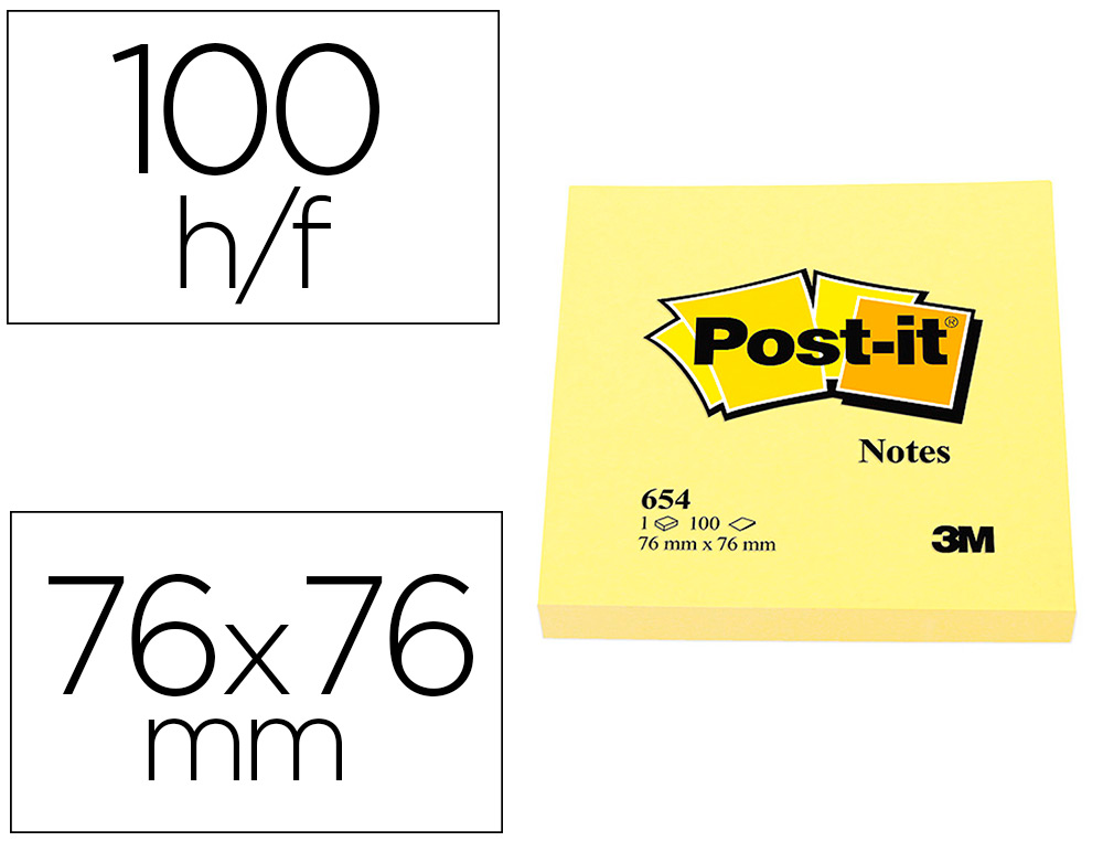 BLOC-NOTES POST-IT 654 76X76MM 100F/BLOC REPOSITIONNABLES COLORIS JAUNE