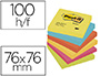 BLOC-NOTES POST-IT COULEURS ÉNERGIQUES 76X76MM 100F REPOSITIONNABLES 5 COLORIS ASSORTIS 6 BLOCS
