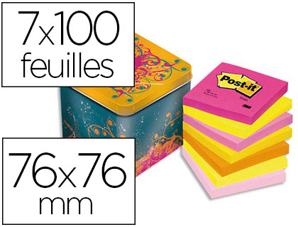 BLOC-NOTES 3M 76X76MM PACK AVANTAGE 7 BLOCS ASSORTIS + BOÎTE MÉTAL