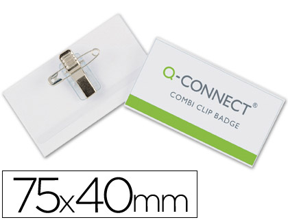 BADGE Q-CONNECT COMBI PINCES/É PINGLES CARTE VISITE PVC RIGIDE TRANSPARENT 40X75MM BOÎTE 50 UNITÉS