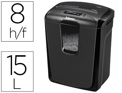 DESTRUCTEUR FELLOWES M-8C VITESSE 4.3MIN COUPE CROISÉE 4X50MM A4 CONFIDENTIEL DÉTRUIT AGRAFES CB 15L 310X244X378MM