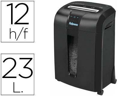 DESTRUCTEUR FELLOWES 73CI COUPE CROISÉE 4X38MM A4 TRÈS CONFIDENTIEL DÉTRUIT TROMBONES AGRAFES CD CB 23L 372X532X274MM