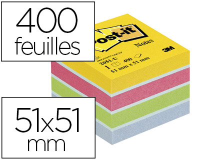 GORESE Bloc Cube 76x76mm 76MM 500 Feuilles NON ADH/ÉSIF