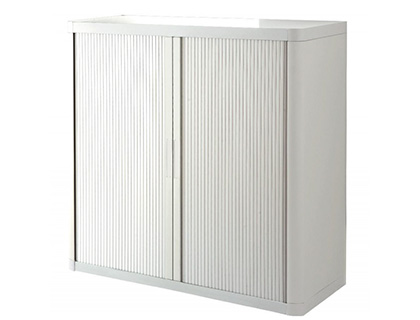 ARMOIRE PAPERFLOW EASY OFFICE 2 TABLETTES CHARGE 75KG STRUCTURE BLANCHE RIDEAUX 104X110X41,5CM COLORIS BLANC/BLANC