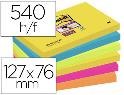 BLOC-NOTES POST-IT SUPER STICKY RIO DE JANEIRO 127X76MM 90F REPOSITIONABLES COLORIS ROSE ORANGE JAUNE LOT 6 UNITÉS