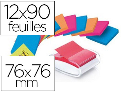 DÉVIDOIR Z-NOTES POST-IT PRO BLANC + 12 BLOCS Z-NOTES SUPER STICKY 76X76MM 90F/BLOC COLORIS BANGKOK ET BORA BORA