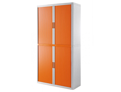 ARMOIRE PAPERFLOW EASYOFFICE 4 TABLETTES CHARGE 75KG STRUCTURE BLANCHE RIDEAUX 204X110X41,5CM COLORIS BLANC/ORANGE