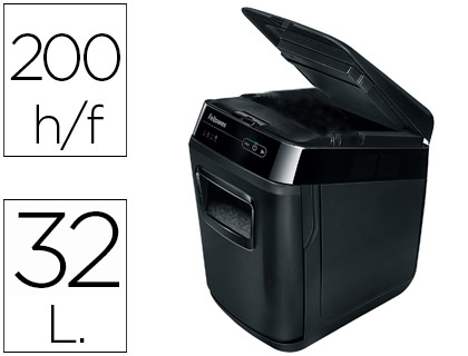DESTRUCTEUR FELLOWES AUTOMAX 200C COUPE CROISÉE 4X38MM A4 TRÈS CONFIDENTIEL DÉTRUIT AGRAFES CD 32L 344X516X540MM 14.4KG