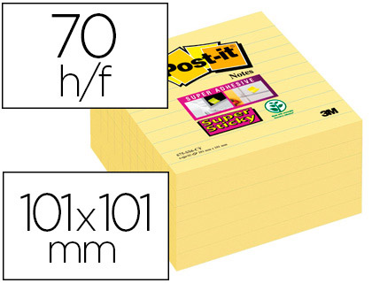 BLOC-NOTES POST-IT SUPER STICKY GRAND FORMAT 101X101MM 70F LIGNÉES REPOSITIONNABLES ADHÉSIF RENFORCÉ COL. JAUNE 6 BLOCS