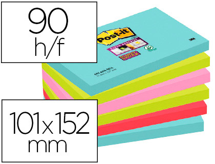 BLOC-NOTES POST-IT SUPER STICKY COULEURS MIAMI 101X152MM 90F REPOSITIONNABLES ADHÉSIF RENFORCÉ BLEU VERT ROSE 3 BLOCS
