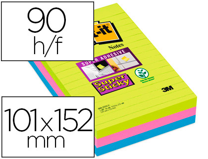 BLOC-NOTES POST-IT SUPER STICKY GRAND FORMAT 101X152MM 90F LIGNÉES ADHÉSIF RENFORCÉ VERT NÉON/FUSCHIA/BLEU 3 BLOCS