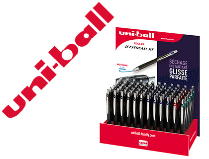PRÉSENTOIR DE 72 ROLLERS UNIBALL JETSTREAM RT 1MM ASSORTIS