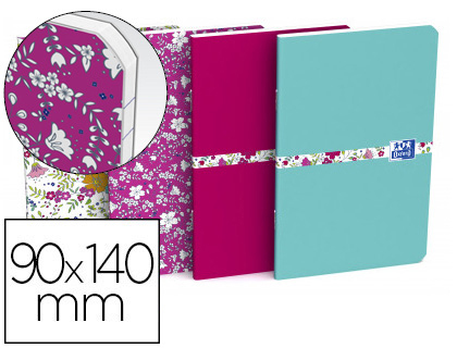 CARNET AGRAFÉ OXFORD FLORAL OPTIK PAPER 9X14CM 120 PAGES UNI 90G