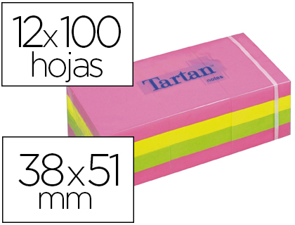 BLOC-NOTES TARTAN 38X51MM 100F/BLOC REPOSITIONNABLES    COLORIS NEON ASSORTIS LOT 12 BLOCS