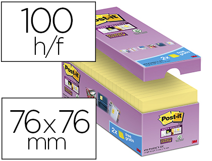 BLOC-NOTES POST-IT 76X76MM 100F/BLOC REPOSITIONNABLES    COLORIS JAUNE LOT 16 BLOCS +  4 GRATUITS