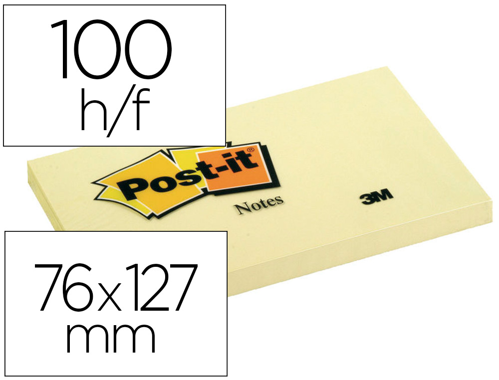 BLOC-NOTES POST-IT 76X127MM 100F/BLOC REPOSITIONNABLES    COLORIS JAUNE LOT 16 BLOCS +  4 GRATUITS