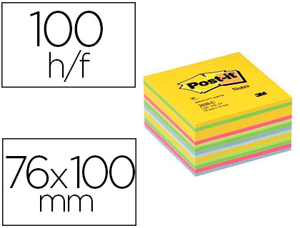 BLOC-NOTES POST-IT CUBE SUPER STICKY 76X76MM COLORIS        ASSORTIS 450F