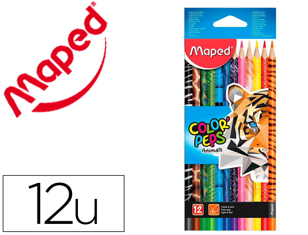 CRAYON COULEUR MAPED COLOR'PEPS ANIMALS            TRIANGULAIRE MINE TENDRE      RESISTANTE - 12 UN