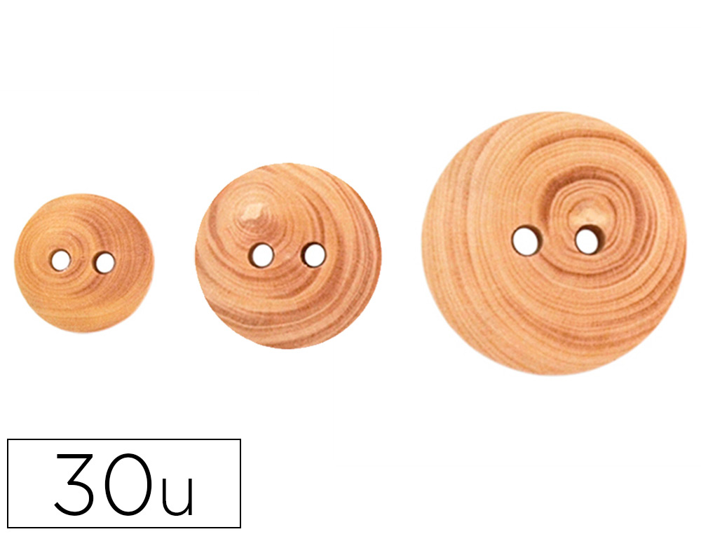 BOUTON EN BOIS FONTORPIN A DECORER MIX 3 DIAMETRES 12MM  18MM 22MM COULEURS ASSORTIES  30 UNITES
