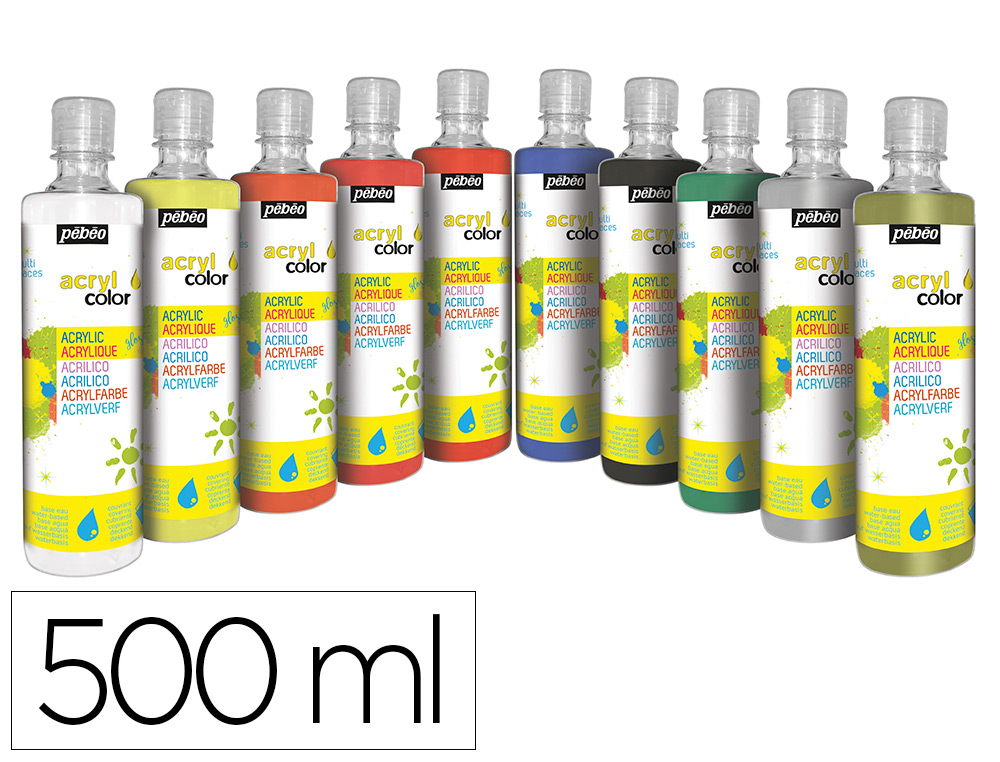 GOUACHE ACRYLIQUE PEBEO ACRYCOLOR INDELEBILE COUVRANTE BRILLANTE COLORIS ASSORTIS SPECIAL FETE 10 FLACONS X 500ML