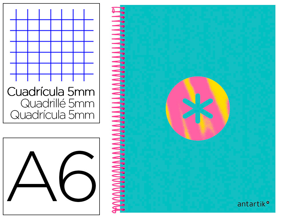 CAHIER SPIRALE LIDERPAPEL ANTARTIK A6 105X148MM 100F    100G/M2 5X5MM COIL-LOCK       TRENDING 2020 TURQUOISE